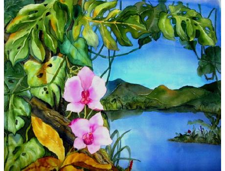 Festői szépségű virágok és tájak selyemfestményen - selyemfestés tanfolyamok kezdőknek és haladóknak