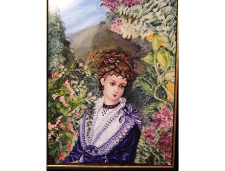 Lila ruhás hölgy, selyemakvarell - selyemfestés tanfolyam kezdőknek és haladóknak
