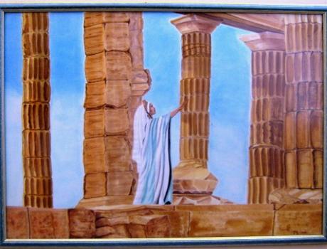 Görög hangulat selyemakvarell - selyemfestés tanfolyamok kezdőknek és haladóknak