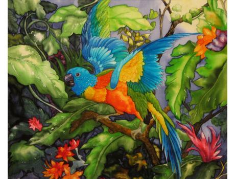 selyemfestmény akvarell technikával- selyemfestés tanfolyam