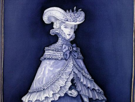 Aprólékos, kézzel festett selyemakvarell portré - selyemfestés tanfolyamok kezdőknek és haladóknak