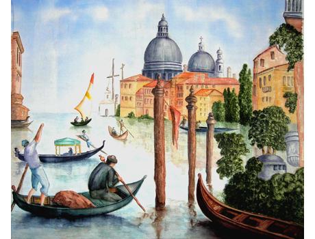 Velence anno akvarell selyemre - selyemfestés tanfolyam kezdőknek és haladóknak