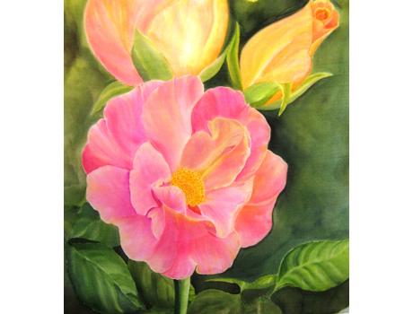 A kedvenc virágaim kézzel festett selyemakvarell képen - selyemfestés tanfolyamok kezdőknek és haladóknak