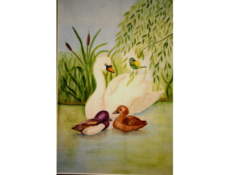 Hattyúcsalád akvarell festmény selyemre - selyemfestés tanfolyamok kezdőknek és haladóknak