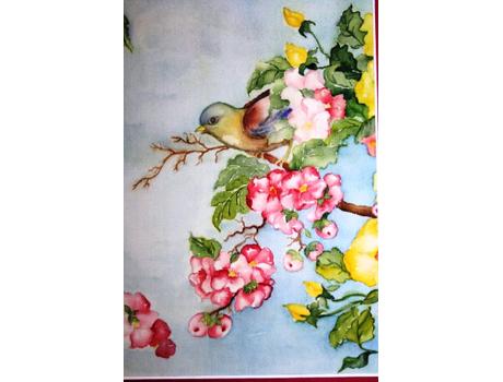 Tavaszi hangulat selyemakvarell képen - selyemakvarell festés kezdőknek és haladóknak