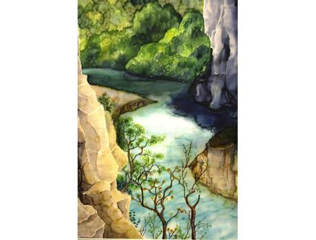 Hegyipatak sziklákkal selyemfestmény - akvarell selyemfestés tanfolyam kezdőknek és haladóknak